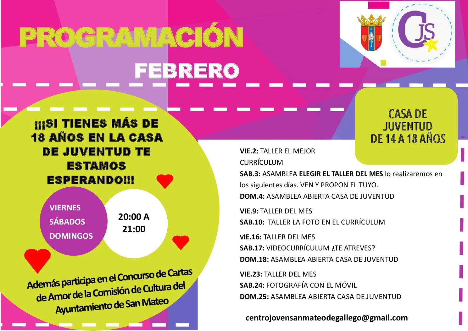 Actividades febrero centro joven - Web ayuntamiento de San Mateo de ...